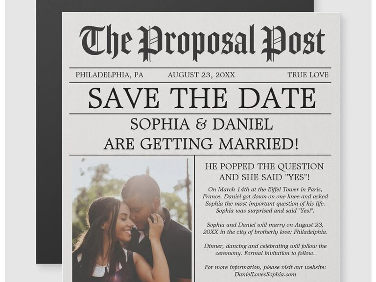 Newspaper design with personalized photo and 'Save the date' as headline