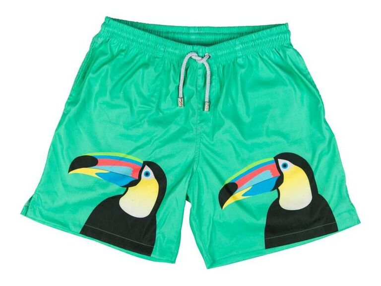 toucan print swim trunks