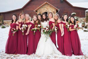 Off-the-Shoulder Bordeaux Bridesmaid Dress