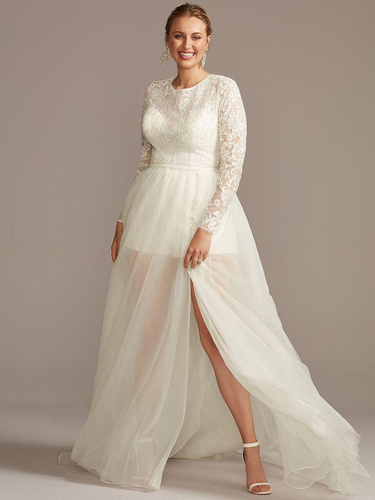 Long Sleeve Wedding Romper with Skirt Overlay