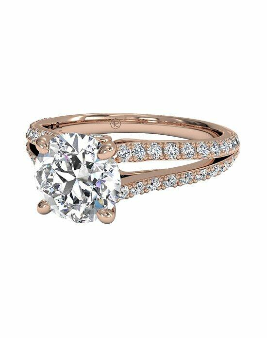 Ritani Double French-Set Diamond 'V' Band Engagement Ring in 18kt Rose Gold (0.24 CTW) Engagement Ring photo