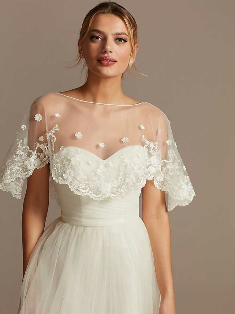 Tulle floral appliqué bridal shawl