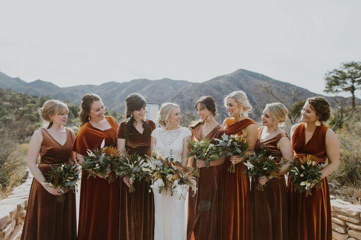 Wedding Party in Velvet Dresses at Texas Wedding