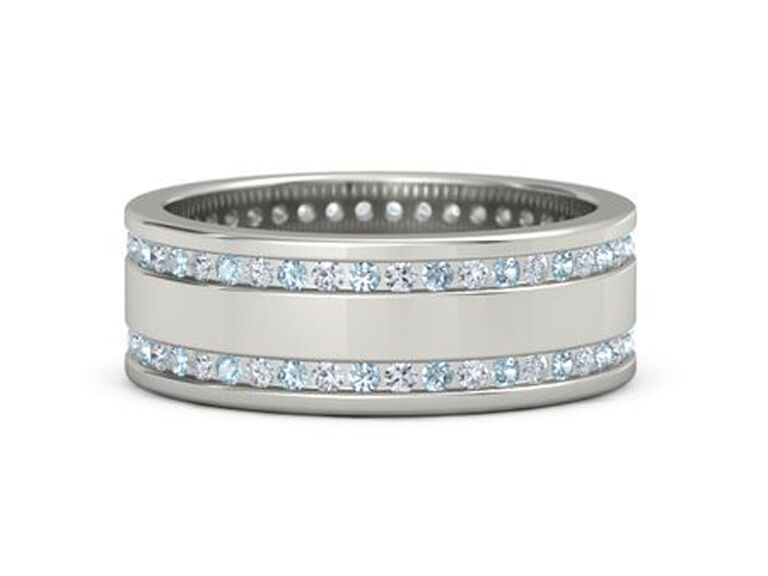 gemvara aquamarine engagement ring with diamonds and white gold band
