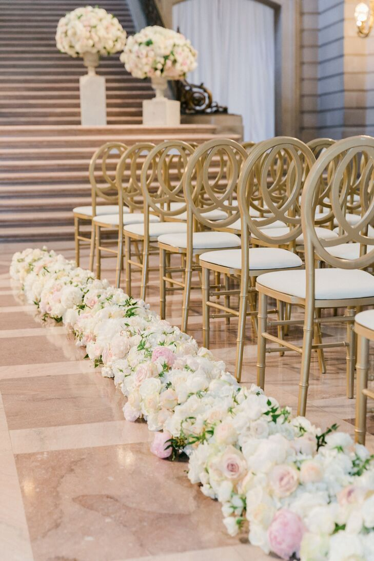Blush and Ivory Rose and Peony Aisle Runner
