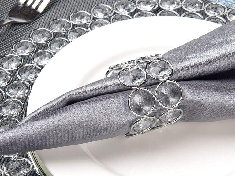 Feyarl sparkly silver napkin holders