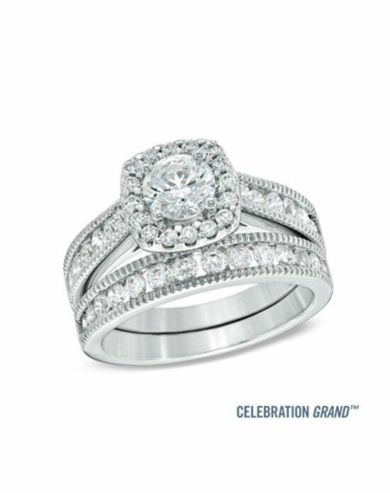 Celebration Diamond Collection at Zales Celebration Grand® 1-1/2 CT. T.W. Diamond Frame Bridal Set in 14K White Gold (H-I/I1)  19952723 Engagement Ring photo