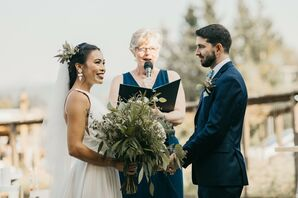 Bride and Groom Exchanging Wedding Vows Outdoors in Canada