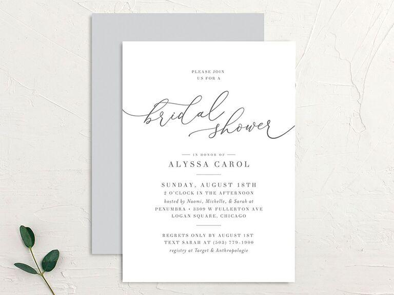 Elegant black type on simple white background