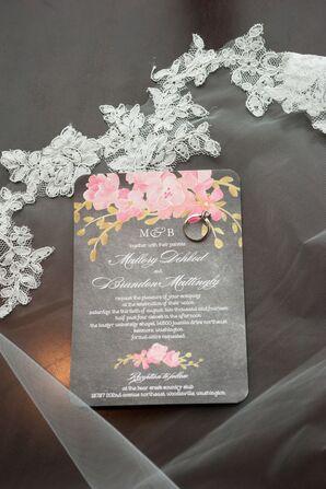 Gray, Pink and Green Wedding Invitations