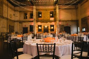Coral Centerpieces and Chevron Table Runners