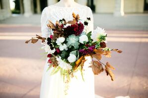 Bohemian Bouquet with Succulent, Dahlias, Fall Leaves and Ferns