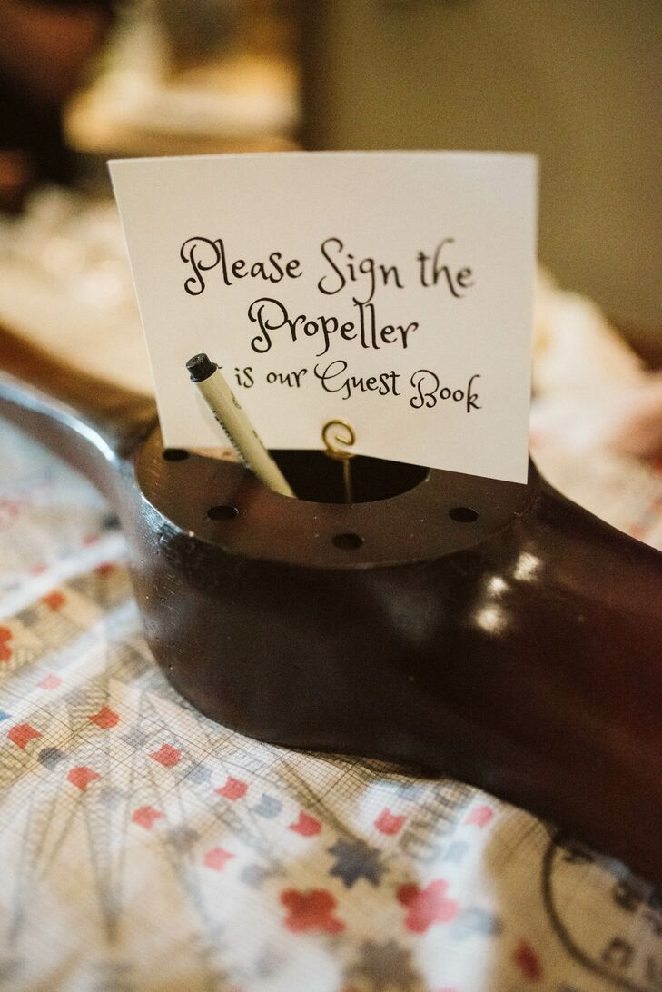 Modern Propeller Guest Book with Calligraphy