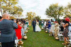 Recessional Down Aisle Lined with Gilded Pumpkins and Lanterns
