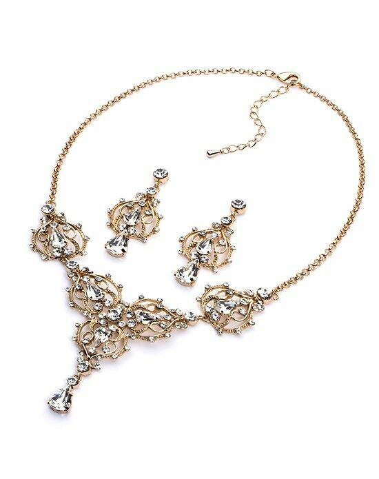 USABride Majestic Rhinestone Gold Jewelry Set Wedding Necklaces photo