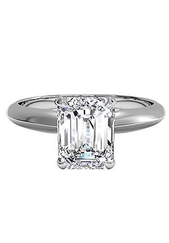 Ritani Emerald Cut Solitaire Diamond Knife-Edge Engagement ...