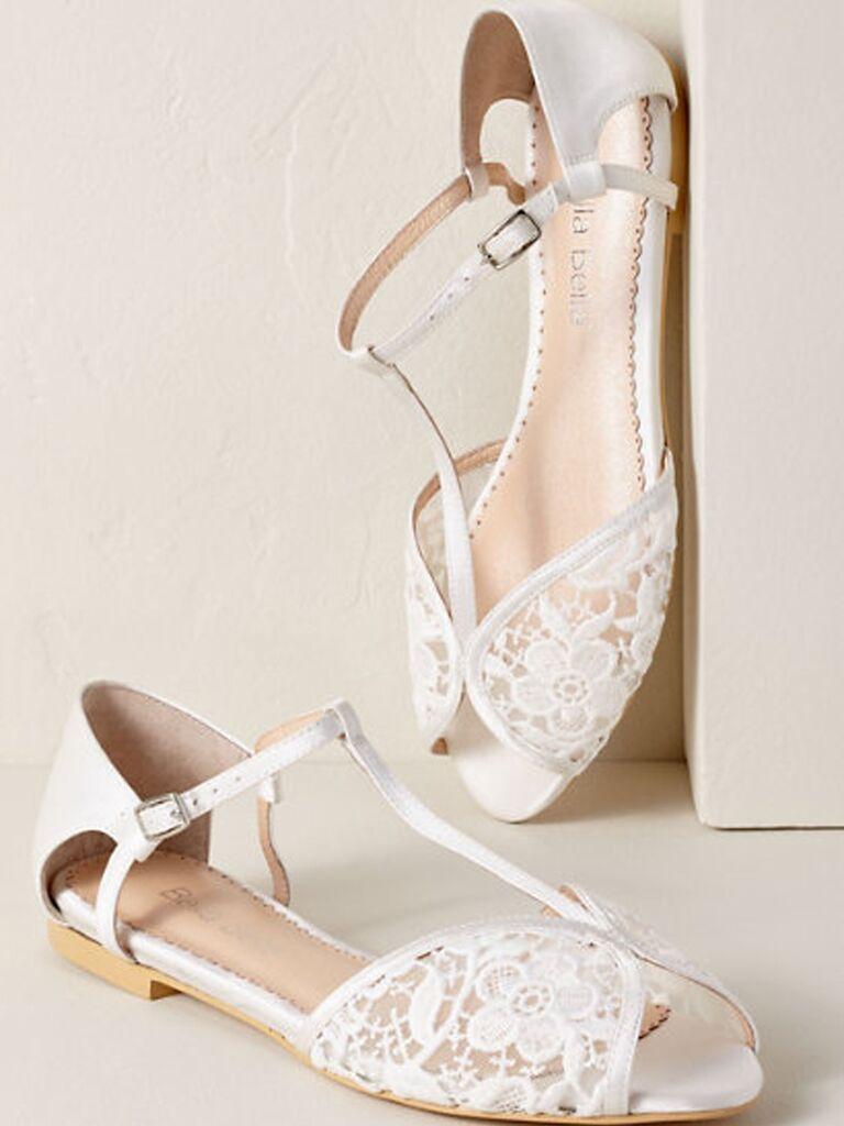 Lace flat beach wedding shoes