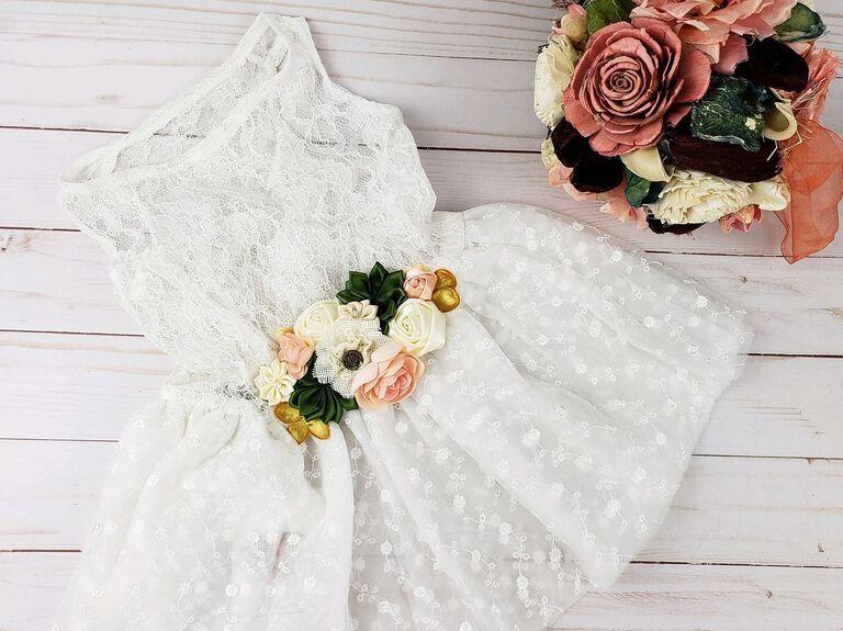 White floral dog wedding dress