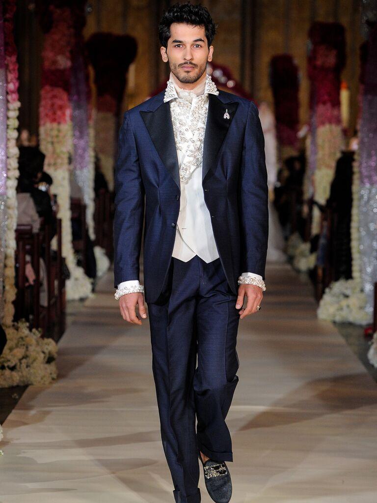 Joseph Abboud navy menswear suit