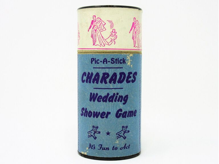 Charades wedding shower game in 50s design