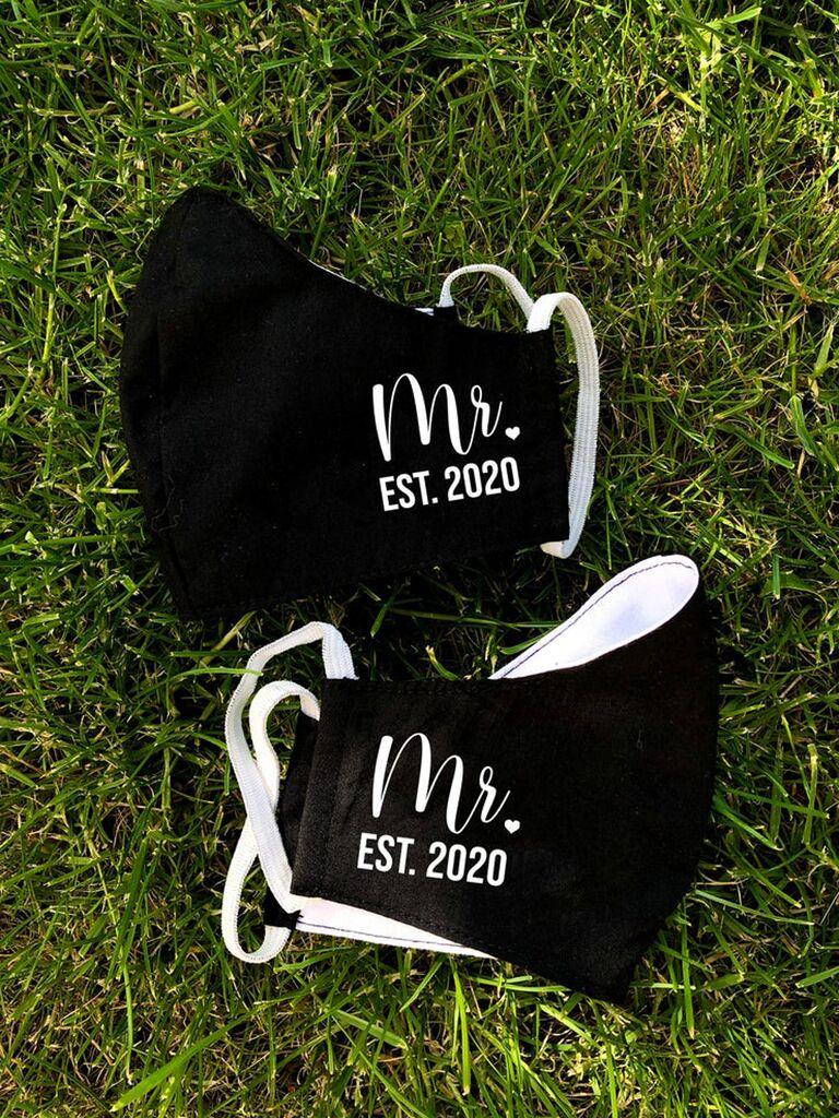 Mr. and Mr. Established in 2020 black and white wedding face masks