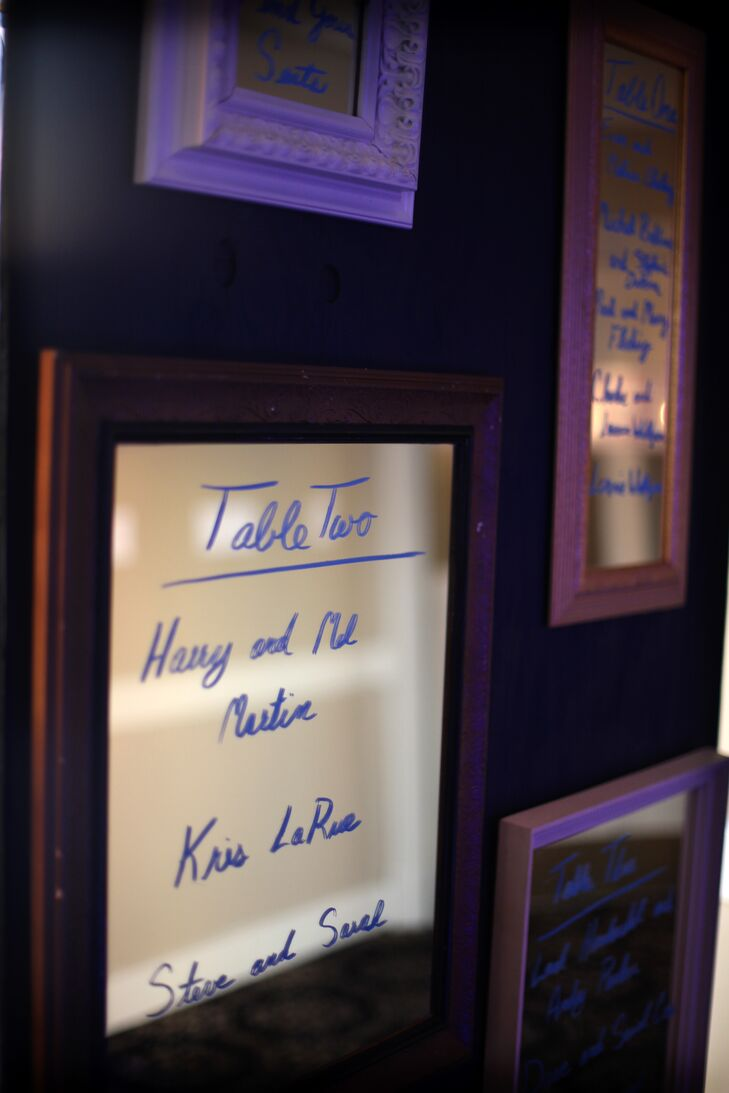 The seating arrangements for the reception were written on assorted frames for a mix-and-match look.
