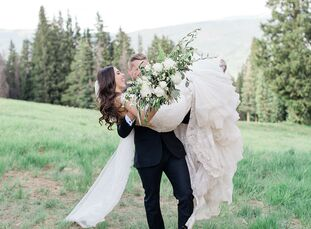"""As lovers of the outdoors, ElizabethByrd and Max Macmaster chose to wed at Saddleridge at Beaver Creek in Colorado. """"We wanted to plan as much of the"""
