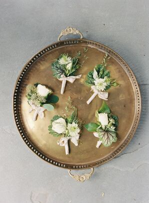 Ivory Scabiosa and Greenery Boutonnieres