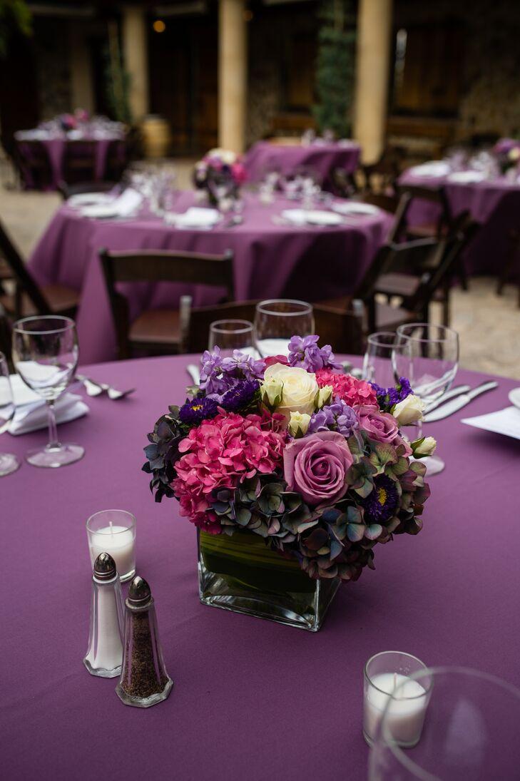 Hydrangea and Rose Purple Centerpiece