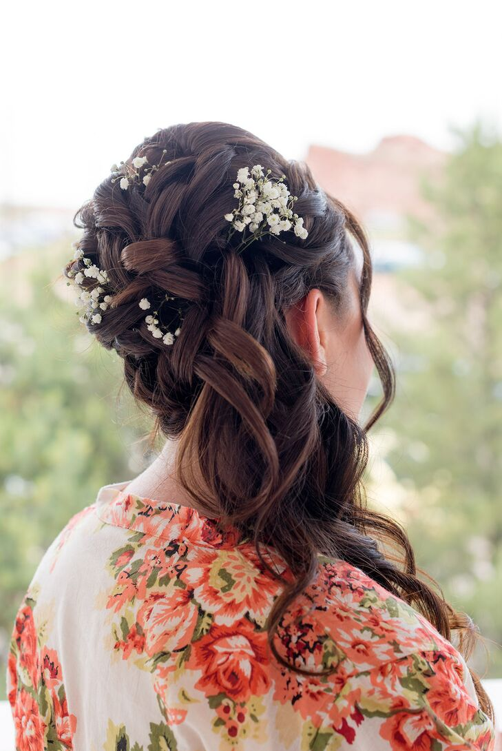 Braided Updo with Baby's Breath Accessories