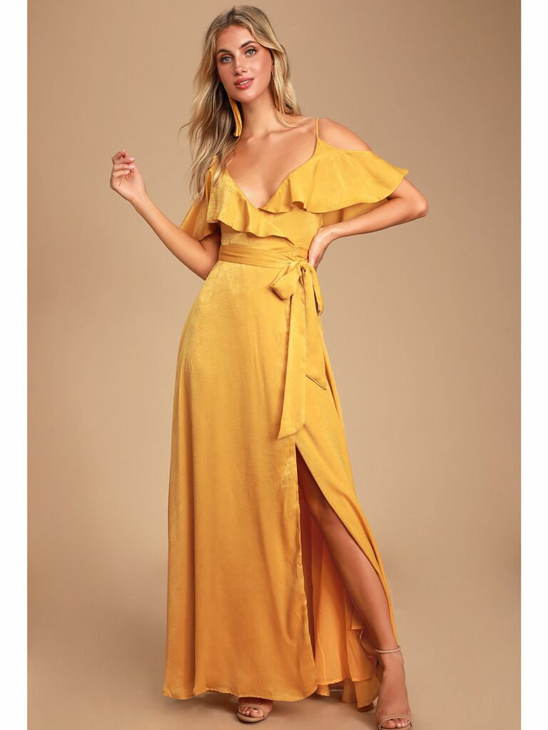 Burnt yellow satin wrap fall wedding guest dress with ruffles