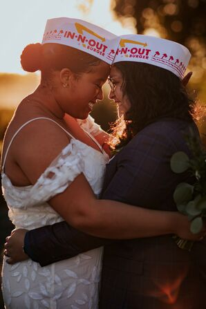 Couple Hugging and Wearing In-N-Out Burger Hats