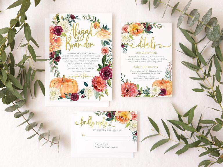 Elegant pumpkin wedding invitation