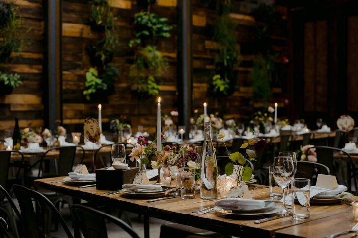 Reception Tables with Taper Candles at Brooklyn Winery in New York