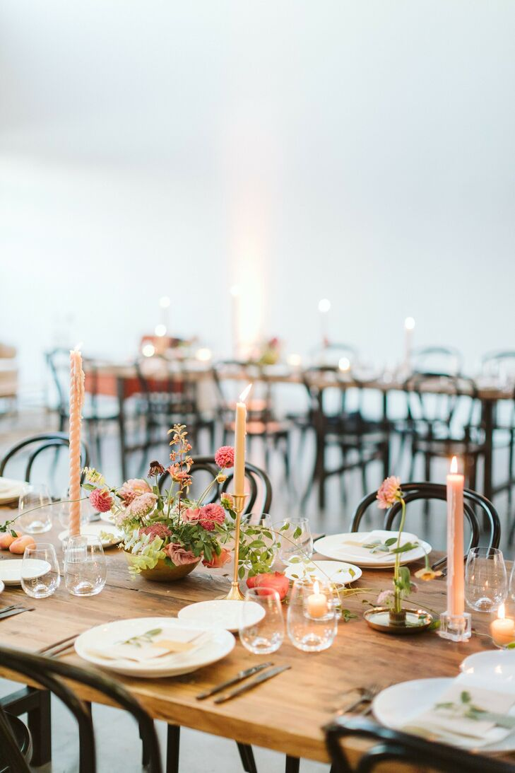 Taper Candles for Reception at Sound River Studios in Long Island City, New York