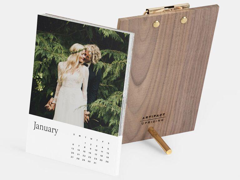 Wood and metal desktop calendar personalized