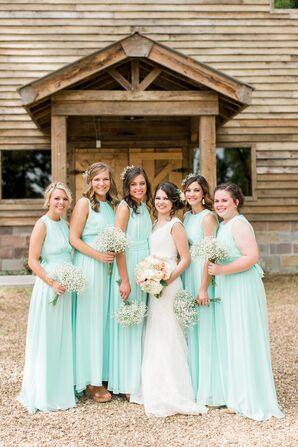 Floor-Length Turquoise Bridesmaid Dresses