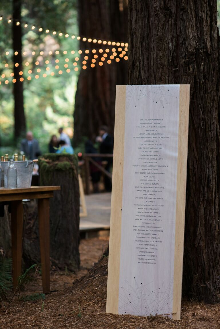 Linen seating chart at rustic wedding in the woods