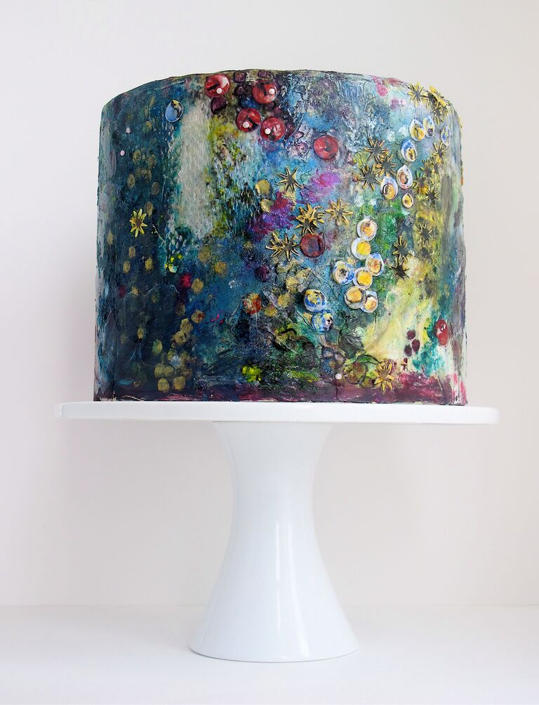 """One-tier bridal shower cake with watercolor frosting inspired by Claude Monet """"Water Lillies"""""""