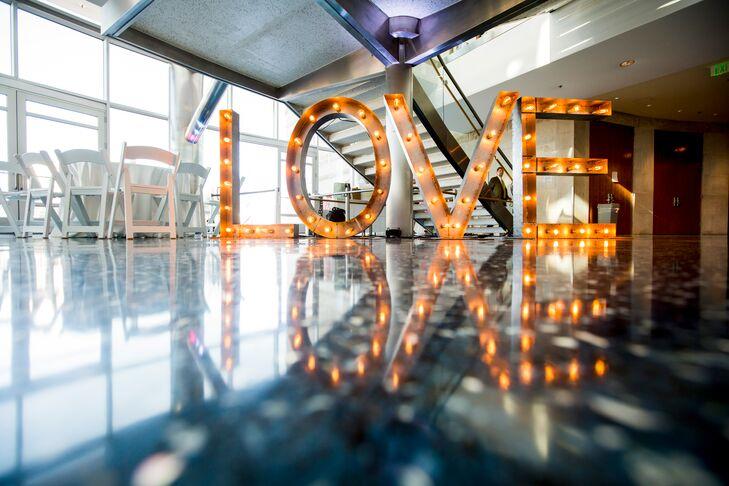 Love Sign At Reception Hall
