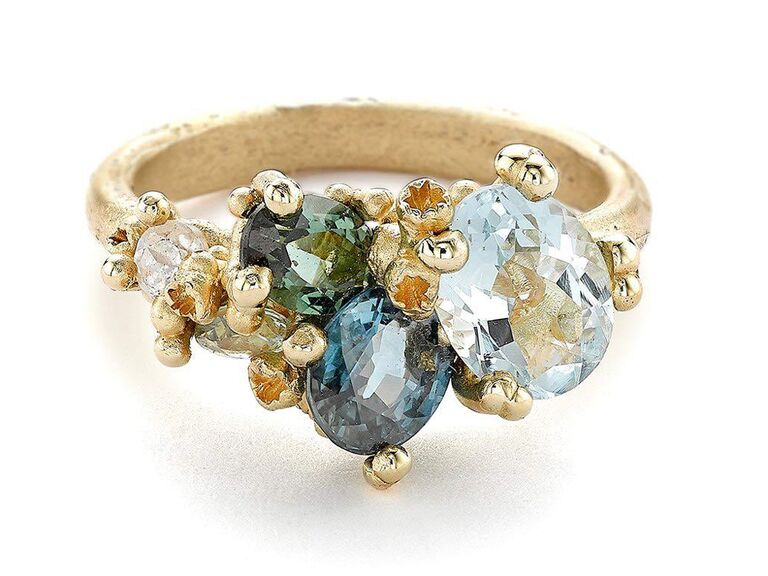 greenwich st jewelers aquamarine engagement gold ring with upcycle multicolored stones