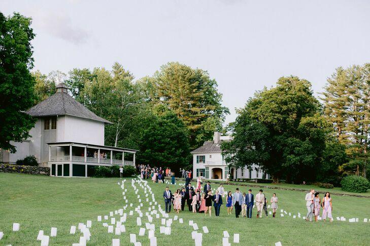 guests walking in field