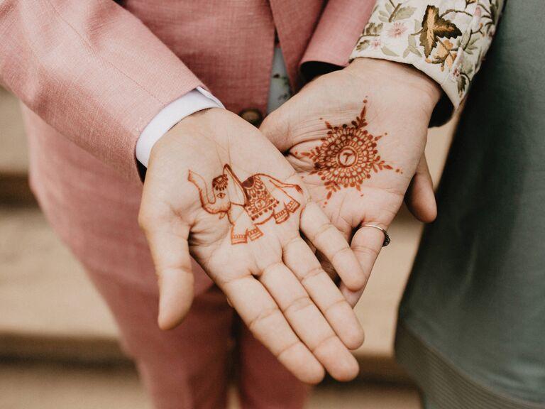Simple matching couple henna tattoos
