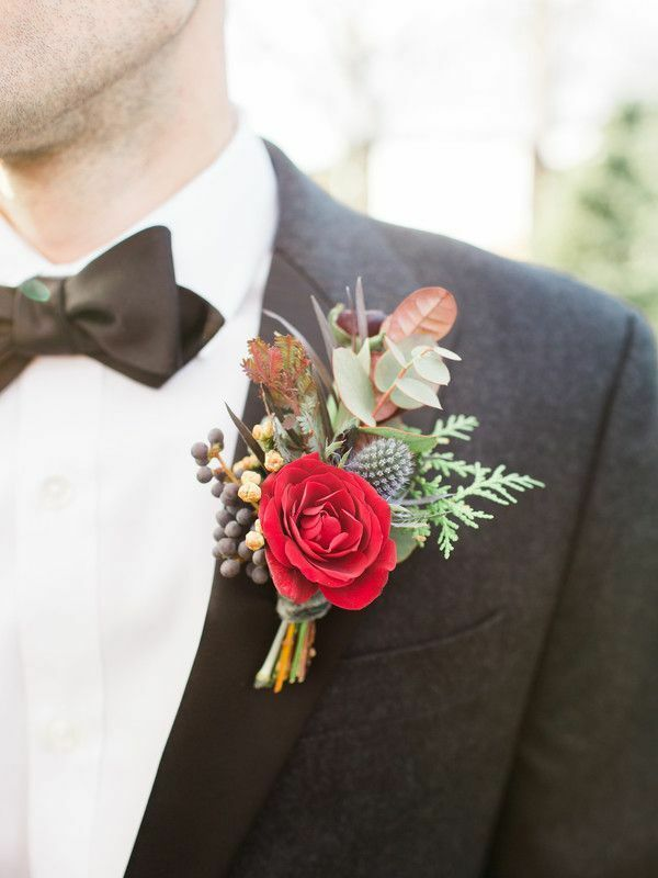 Boutonniere with red rose