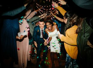 """In a matter of a mere two months, Jessica and Nate managed to pull off their 200-person party at event1013 in Plano. """"I wanted a cozy space with hardw"""