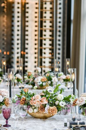 Tablescape With Anemone Centerpieces and Black Taper Candles