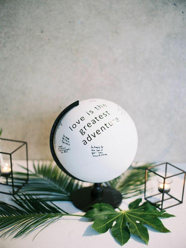Black-and-white globe guest book