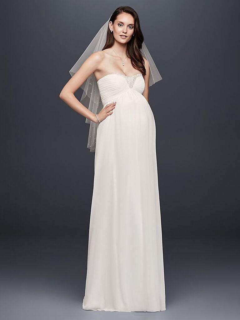 Váy cưới quây màu trắng dành cho cô dâu của david với cườm và xếp nếp nhẹ trên ngực và váy hoa trơn váy cưới đơn giản đẹp