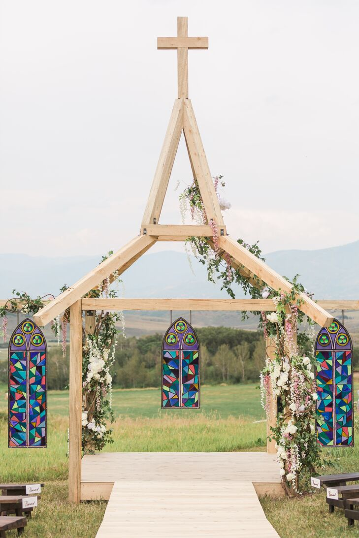 Custom Wood and Stained-Glass Ceremony Arch