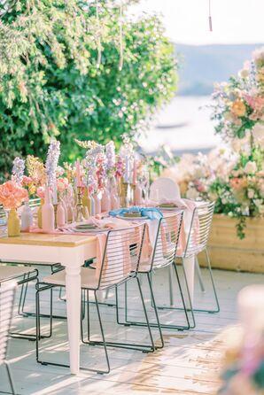 Pastel Reception Tablescape at Ekies All Senses Resort in Greece